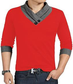 YTD 100% Cotton Mens Casual V-Neck Button Slim Muscle Tops T