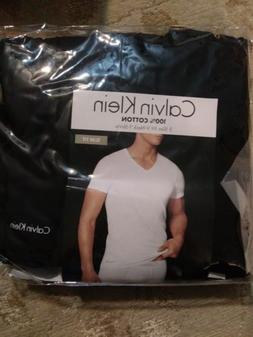Calvin Klein 100% Cotton Slim Fit Black V-Neck T-Shirts 3 Pa