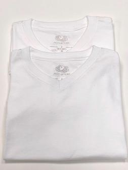 2 New Fruit Of The Loom V-Neck Large Boys Girls White Cotton