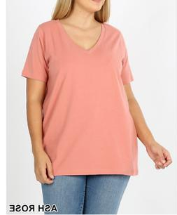 Zenana Outfitters 2X Cotton Rich Stretch Jersey V Neck Boxy
