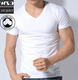 3-6 Pack Mens 100% Cotton Tagless Crew Round V-Neck T-Shirt