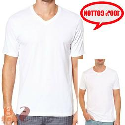 3-6 PC Mens 100% Cotton Tangless Round V-Neck T-Shirt Unders