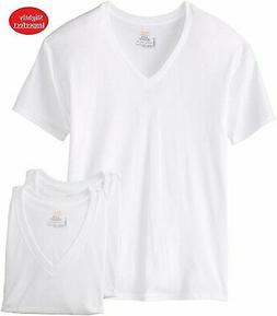 3 Men Hanes ComfortSoft V-neck T-shirt Tagless Undershirt Wh