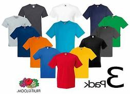 3 PACK Fruit Of The Loom V-NECK T-SHIRT PLAIN TOP COTTON LYC