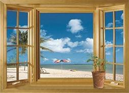 1 X 3D Beach Window View Removable Wall Stickers Vinyl Decal