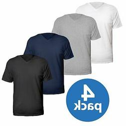 4 Pack V-Neck T Shirts for Men, 100% Cotton Free Young Adult