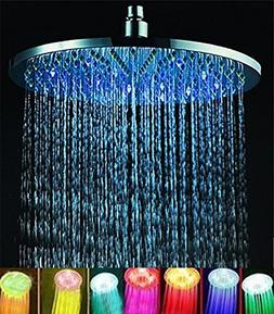 "7 colors 8"" Rainfall Round Bathroom Shower Head RGB LED Flas"