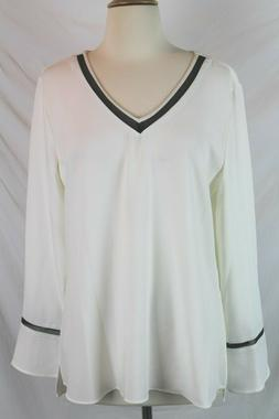 $80 Women's Calvin Klein V-Neck Blouse with Mesh inserts NWT