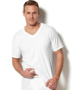 $99 HANES PLATINUM MEN'S WHITE 5-PACK TAGLESS V-NECK UNDERSH