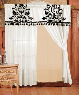 Chezmoi 2 Panel Black and White Floral Window Curtain/Drape