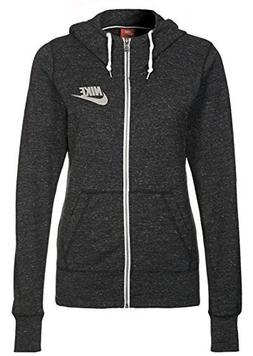 Nike Women's Gym Vintage Full-Zip Hoodie Jacket, Black/Sail,