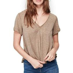 Free People All You Need Tee Wild Earth Brown V-Neck Short S