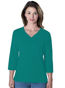 LAT Apparel Ladies 3/4 Sleeve Jersey Tee  Jade Green V-Neck