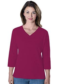 LAT Apparel Ladies 3/4 Sleeve Jersey Tee  Fushia V-Neck Tee