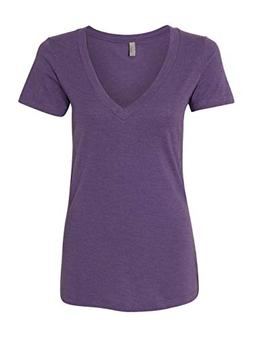 Next Level Apparel 6640 CVC Deep V-Neck Tee - Purple Berry,