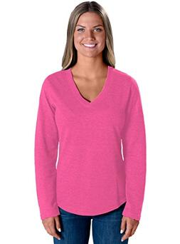 LAT Apparel 100% Cotton Ladies French Terry V-Neck  Hot Pink