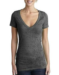 Next Level Apparel Women's Burnout Deep V-neck T-Shirt Tee 6