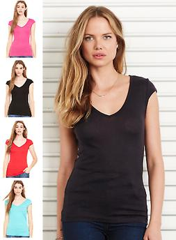 B8705 Bella+Canvas Bel Women's Deep V-Neck Sheer Mini Rib To