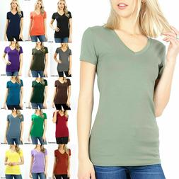 Womens Basic V-NECK SHORT SLEEVE Cotton T-Shirt Top Stretch