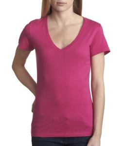 Bella + Canvas Women's Jersey Short-Sleeve Deep V-Neck Solid