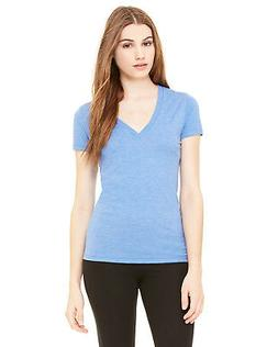 Bella + Canvas Women's Triblend Short-Sleeve Deep V-Neck T-S