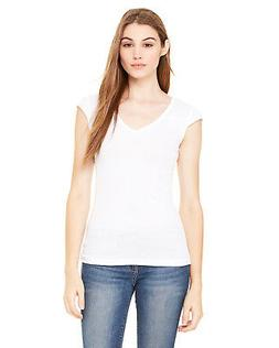 Bella+Canvas Womens Sheer Mini Rib Cap-Sleeve Deep V-Neck T-