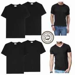Black 3-6 Packs Men 100% Thick Cotton Crew-Neck V-Neck T-Shi