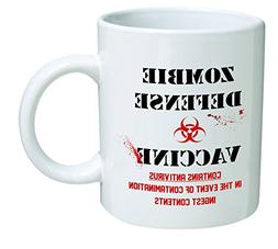 Blood, Zombie defense vaccine - 11 OZ Coffee Mug - Funny Ins
