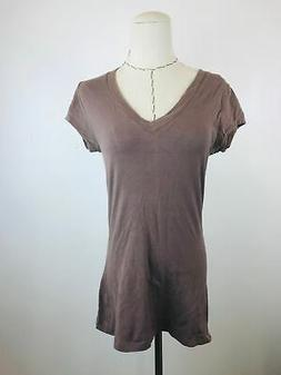 Zenana Outfitters Brown Short Sleeve Women's V-Neck Shirt Si