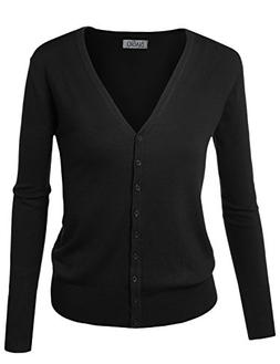 BIADANI Women Button Down Long Sleeve Soft V-Neck Cardigan S