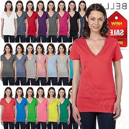 Bella Canvas Ladies Womens Deep V-Neck Short Sleeve S-XL T-S
