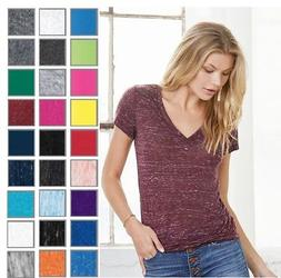 Bella+Canvas Women's Missy Fit Deep V-Neck Jersey Tshirt T-S