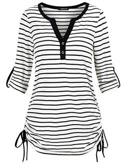 FANSIC Casual Women Shirts, Women's Black and White Stripes
