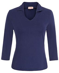 Belle Poque Collar Shirts for Women Casual Work Blouse Tops