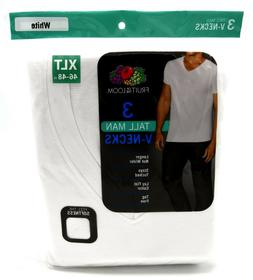 Fruit of the Loom Tall Men's Collection White V-Necks, 3-Pac