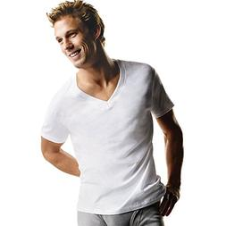 Hanes Men's TAGLESS® V-Neck T-Shirt 5-Pack, S-White