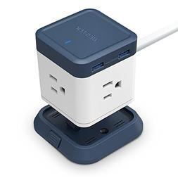 BESTEK Compact Power Strip Travel Cube 3-Outlet and 4 Smart
