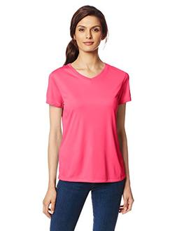 Hanes Sport Women's Cool DRI Performance V-Neck Tee,Wow Pink