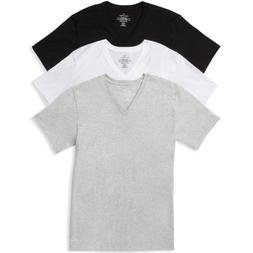 Calvin Klein Cotton Classics V-Neck Tees in Black, White & G