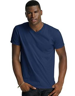 Hanes Men's Cotton Nano V-Neck T-Shirt,Vintage Grey,Small