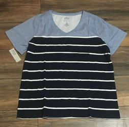 Croft & Barrow Classic Tee V Neck Blue White Navy Striped T-