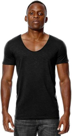 Deep V Neck T Shirt For Men Low Cut Scoop Tee Invisible Tshi