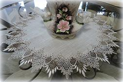 Large Doily Table Topper Dresser Scarf Neutral Earth Tones E