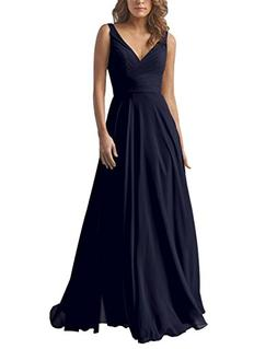 Yilis Double V Neck Elegant Long Bridesmaid Dress Chiffon We