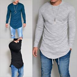Fashion Men Slim Fit V-Neck Long Sleeve Basic Muscle Tee Cas