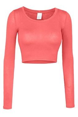 LE3NO Womens Fitted Long Sleeve Crop Top with Stretch, L3NWT