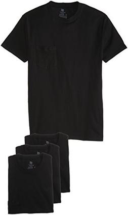 Hanes Men's 4-Pack FreshIQ Assorted Pocket T-Shirt, Black, X