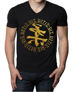 Gold Foil Circle Jiu Jitsu V-Neck Black Shirt Beast Gym Work