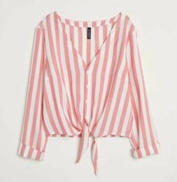 H&M Divided Striped Button Up Tie Front Blouse Size S