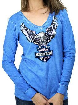 Harley-Davidson Ladies Upwing Eagle Blue Cotton Long Sleeve